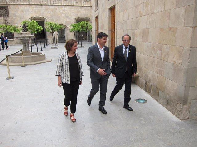 El pte.Quim Torra y los diputados de ERC Sergi Sabrià y Anna Caula