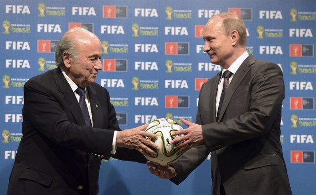 Joseph Blatter y Vladimir Putin.