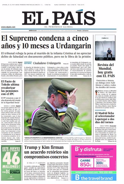 Las portadas de los periódicos de hoy, miércoles 13 de junio de 2018
