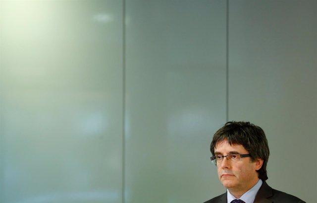 El expresidente de Cataluña Carles Puigdemont durante una conferencia en Berlín