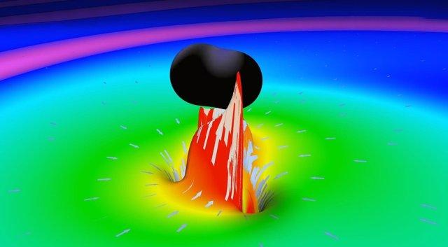 Simulación de la fusión de dos agujeros negros