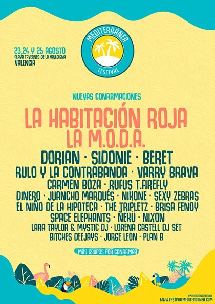 La Habitación Roja y La M.O.D.A., nuevas confirmaciones del Mediterránea Festival 2018
