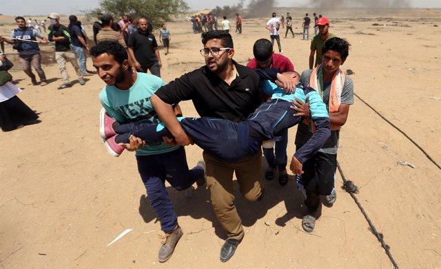 Manifestante palestino herido en Gaza