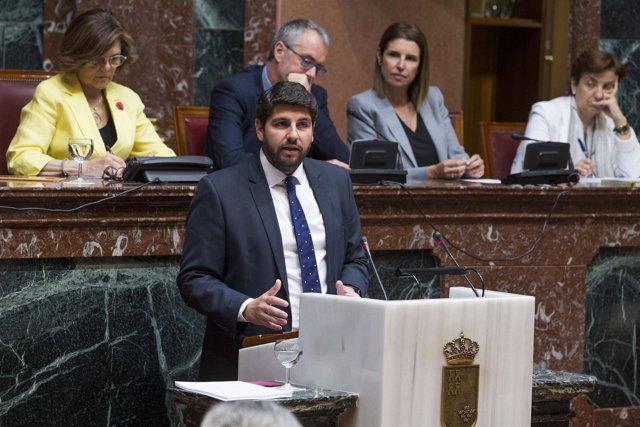 Fernando López Miras, durante el Debate del Estado de la Región