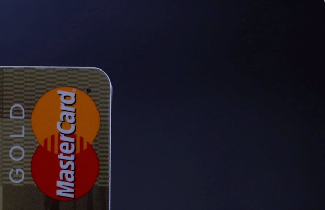 A MasterCard credit card is pictured on this photo illustration taken in Bordeau