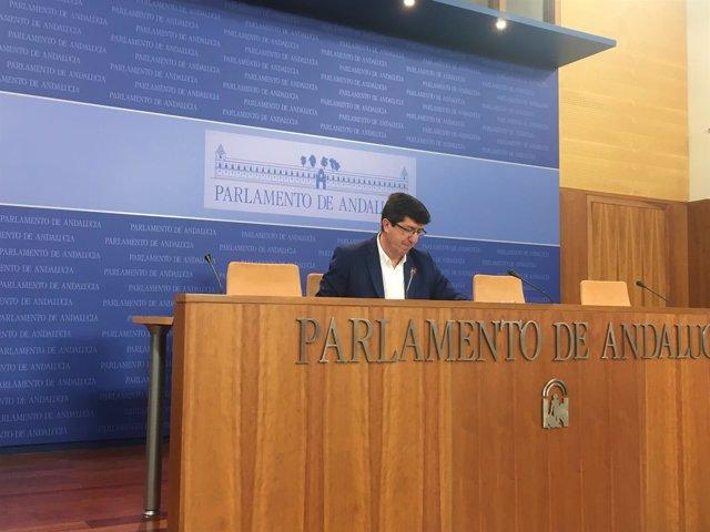 El presidente y portavoz de Ciudadanos (Cs) en el Parlamento andaluz, Juan Marín