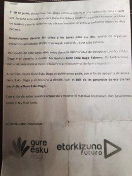 Carta de Gue Esku Dago por la cadena humana del derecho a decidir
