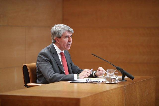 Rueda de prensa del presidente de la Comunidad de Madrid en funciones