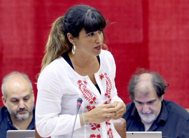 Teresa Rodríguez durante la sesión de control en el Parlamento