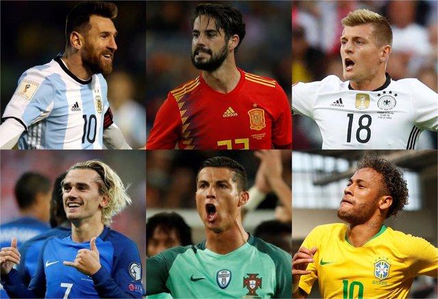 Messi Isco Kroos Griezmann Cristiano Ronaldo Neymar Mundial collage montaje