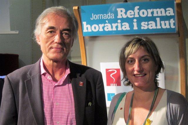 El sec. Gnral. De metges de Catalunya J.M.Puig i la consellera A.Vergés