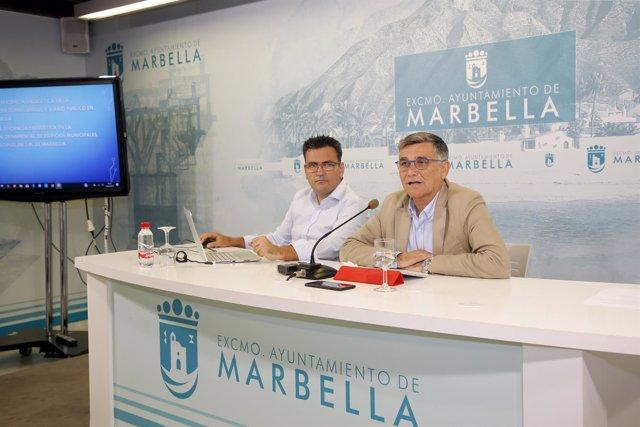 Concejal javier garcía y maldonado tecnico area marbella iluminación
