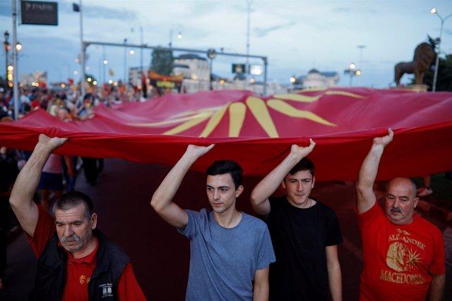 Manifestación en Skopje contra el cambio de nombre de Macedonia