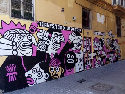 Valencia ofrece a un artista un espacio en tras borrar la empresa de limpieza su obra criticando la sentencia de Alsasua