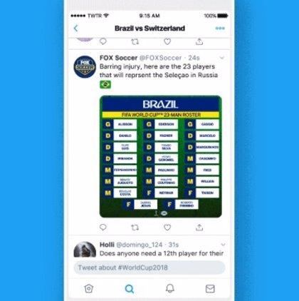 Twitter introduce los Eventos para seguir la Copa del Mundo