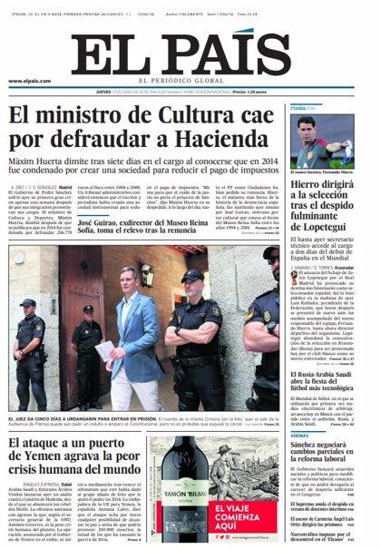 Las portadas de los periódicos de hoy, jueves 14 de junio de 2018