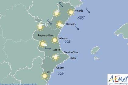 Intervalos de nubes altas este jueves y descenso de temperaturas máximas en el litoral de la Comunitat