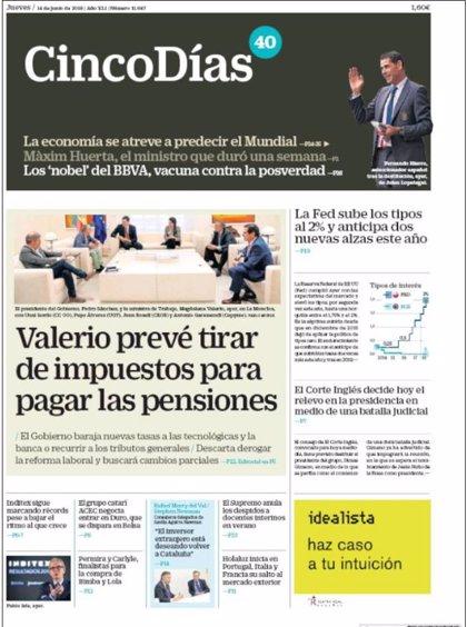 Las portadas de los periódicos económicos de hoy, jueves 14 de junio