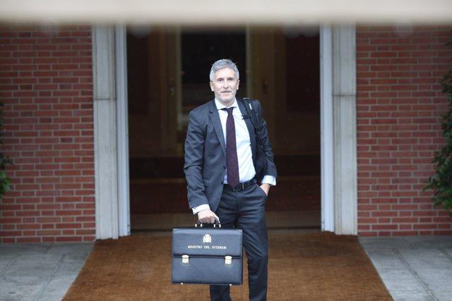 Marlaska, ministre d'Interior, arriba en el seu primer Consell de Ministres