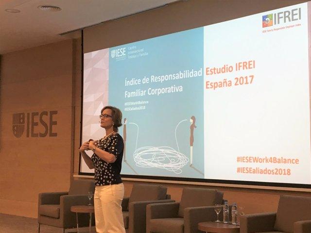 Mireia Las Heras, durante la presentación del informe sobre conciliación laboral