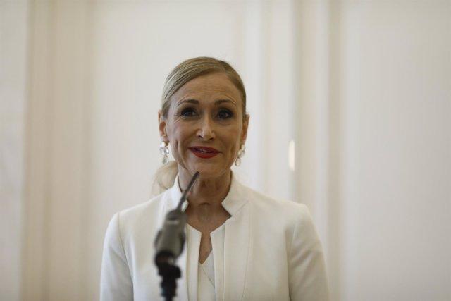 Rueda de prensa de Cristina Cifuentes en la que ha anunciado su dimisión