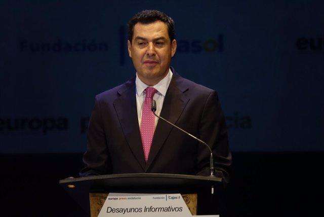 Juanma Moreno, durante su intervención