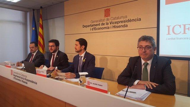 Josep-Ramon Sanromà (ICF), Pere Aragonès, Damià Calvet y Jaume Fornt (AHC)