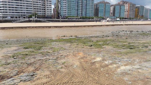 Episodio de contaminación en la playa de San Lorenzo