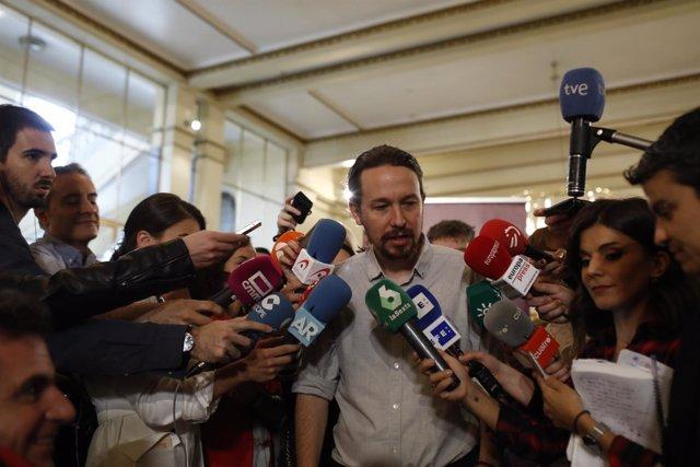 Pablo Iglesias hace declaraciones antes del encuentro Rumbo 2020