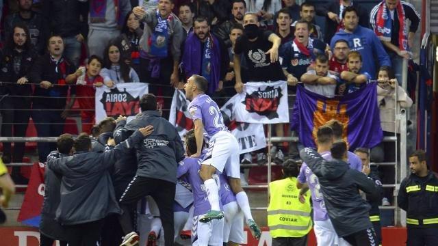 El Valladolid celebra ante el Numancia