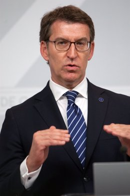 El presidente de la Xunta, Alberto Núñez Feijóo, en la rueda de prensa posterior