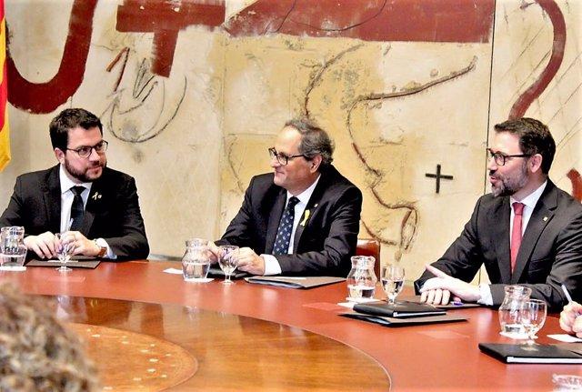 Conseller Pere Aragonès, pte. Quim Torra, Víctor Cullell (secretario del Govern)