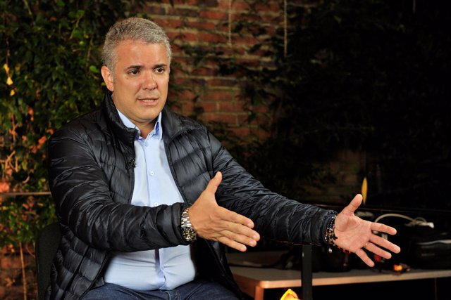 Colombian presidential candidate of the Democratic Center party Ivan Duque gestu