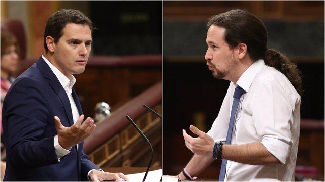 Albert Rivera y Pablo Iglesias en la moción de censura