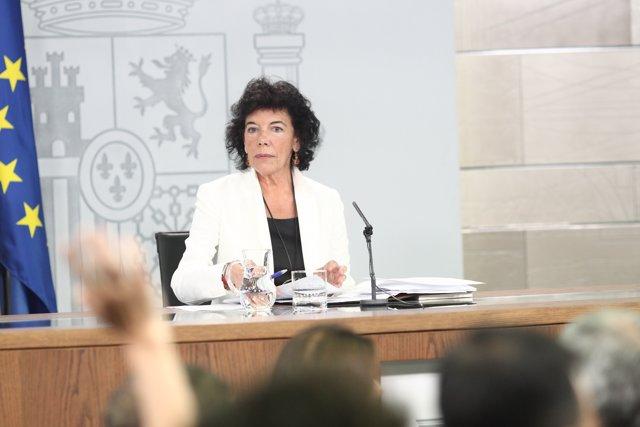 Roda de premsa de la portaveu del Govern, Isabel Celaá, després del Consell