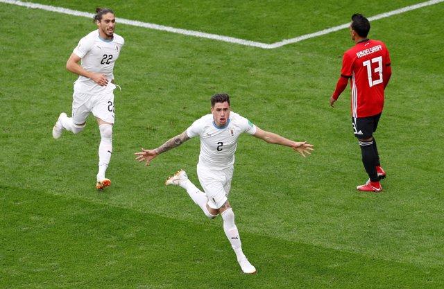 Giménez marca en el Uruguay - Egipto