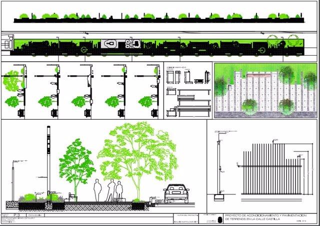 Plano del proyecto para los primeros 1.500m2 liberados en c/Castilla
