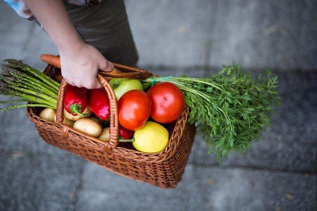 Cesta de compra, verdura