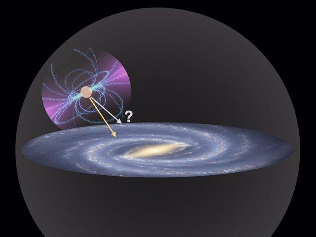 Imagen de un púlsar cayendo en el campo gravitacional de la Vía Lác