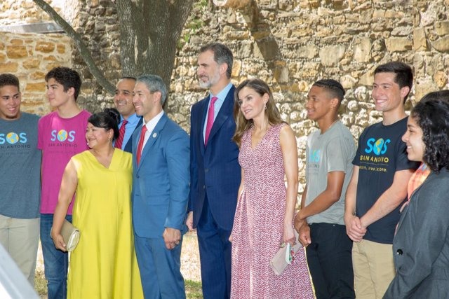 Their majesties King Felipe VI and Queen Letizia of Spain visit Mission San Jose