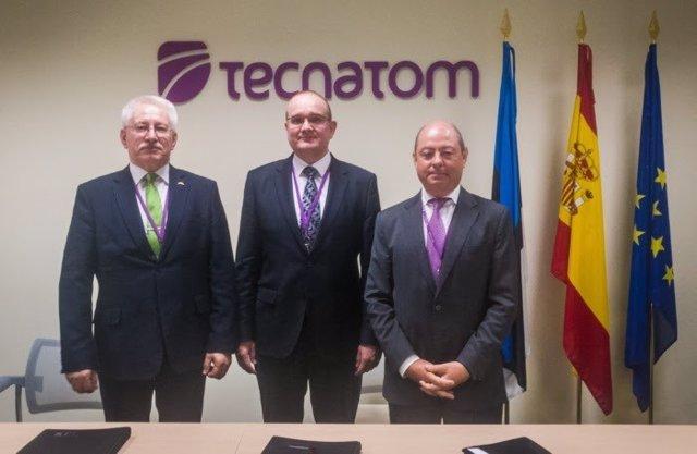El CEO de DATEL, el embajador de Estonia en España y el director de Tecnatom