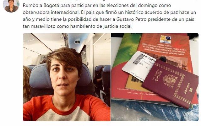 Colombia sanciona a la diputada Ruiz-Huerta y le prohíbe entrar en su territorio en los próximo cinco años