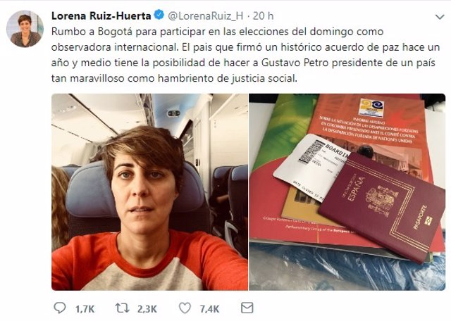 Lorena Ruiz Huerta viaja a Bogotá