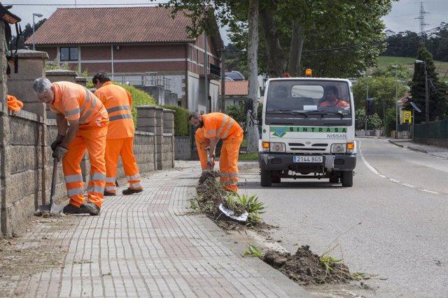 Trabajos de desbroce y limpieza, con trabajadores de Corporaciones Locales