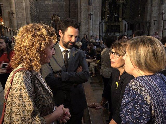 Roger Torrent i Ester Capella, en la pregària interreligiosa de Barcelona