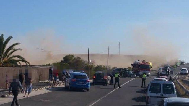 Accidente en la TF-643 en Granadilla (Tenerife)