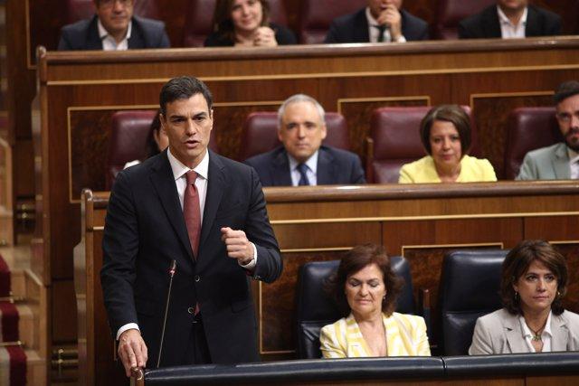 Pedro Sánchez en la sessió de control al Govern en el Congrés
