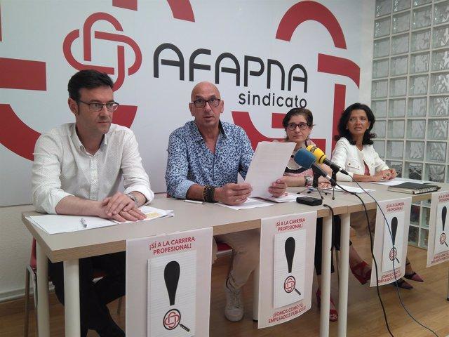 Laboreo junto a otros representantes de Afapna en la rueda de prensa