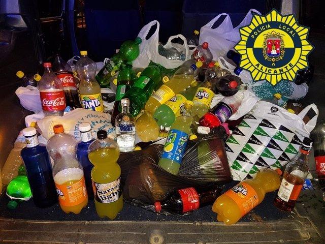 Botellas intervenidas en Alicante