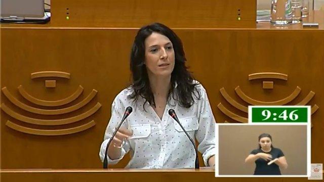 Esther Gutiérrez durante su comparecencia en la Asamblea sobre las EBAU